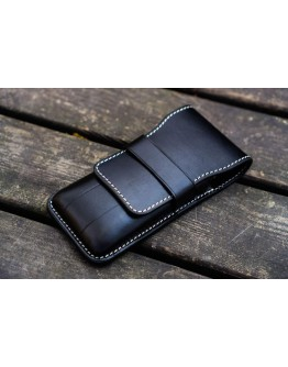 Leather Flap Pen Case for Three Pens - Black