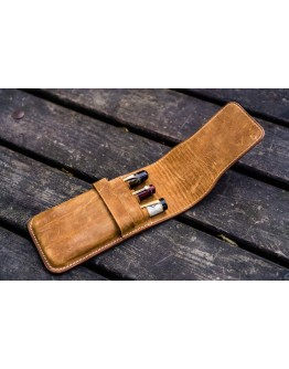 Leather Flap Pen Case for Three Pens - Crazy Horse Brown