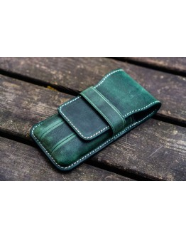 Leather Flap Pen Case for Three Pens - Crazy Horse Forest Green