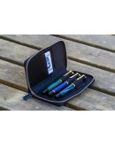 Leather Zippered 3 Slots Pen Case - Black-Galen Leather