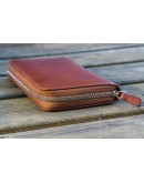 Leather Zippered 3 Slots Pen Case - Chocolate Brown