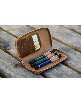 Leather Zippered 3 Slots Pen Case - Crazy Horse Brown