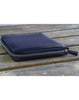Leather Zippered 5 Slots Pen Case - Black